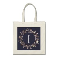Personalized monogram tote bag Elegant wreath