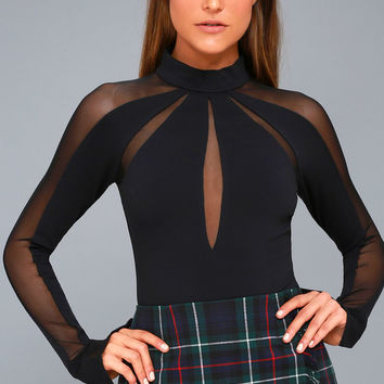 Monarch Black Mesh Long Sleeve Top