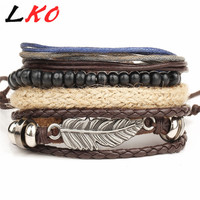 Wrap Feather Leather Bracelets Men or Women
