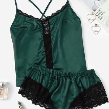 Plus Contrast Lace Satin Cami Top & Shorts