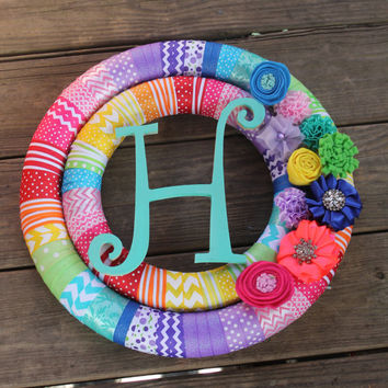 Rainbow Wreath, Rainbow pride, Gay Couple, LGBT,  Pride Wreath, Rainbow Teachers Wreath, monogram wreath, initial wreath, custom wreath