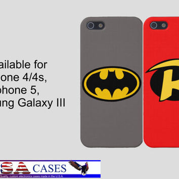 iPhone Case, Samsung Galaxy S3 Case, iPhone 4 Case, iPhone 5 Case, Batman and Robin iPhone Case, Best Friends Iphone, Two Case Set