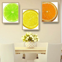 Kitchen Art Lime Lemon Orange Citrus Set of 3 Print Home Decor Wall Art KA14009-10-11