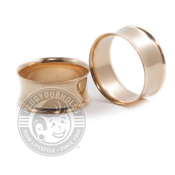 Gold Double Flared Steel Tunnels