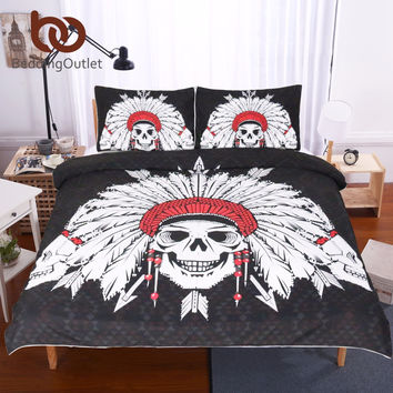 Tribe Of Indian Skulls Duvet Cover Set 3 Piece Black Background Digital Print 3d Cool Skull Bedding Set Bed Set