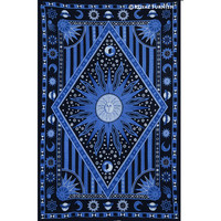 Blue Twin Celestial Sun Moon Stars Hippie Tapestry Wall Hanging Bedspread on RoyalFurnish.com