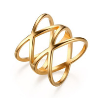 "Double""X"" Cross Statement Ring - Stainless Steel 18K Gold Plated Ring Black Friday - Cyber Monday Sale"