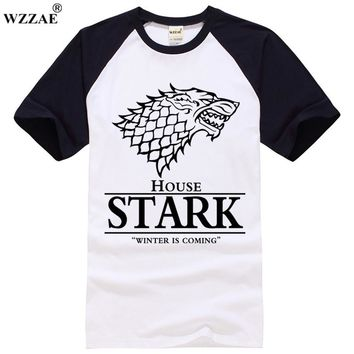Game of Thrones Raglan Tee House Stark Letters Winter Is Coming T Shirt 2017 Summer Brand New Hot Sale 100% Cotton Top Tees