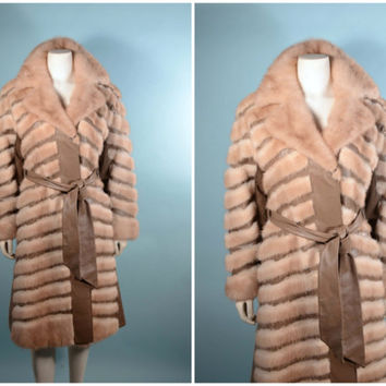 Vintage 60s 70s Mink Leather A Line Princess Coat Chevron Pattern/Boho Chic Mod Preppy Winter Fur Coat/Glam Disco Party Coat S