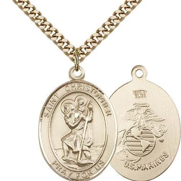 14K Gold Filled St Christopher Marines Military Soldier Catholic Medal Necklace 617759461862