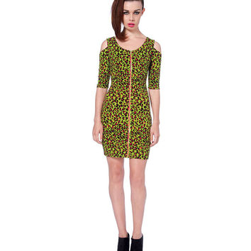 Jawbreaker Lime Leopard Zipper Cutout Dress