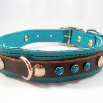 Leather dog collar  The Artisan teal by SpoiledDogLeatherCo