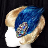 Sapphire blue feather and vintage gemstone fascinator hair clip