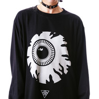 Eyeball Print Black Sweater