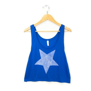 Star - Hand STENCILED Slouchy Scoop Neck Cropped Womens Boxy Tank Top in Blueberry - Women's S M L