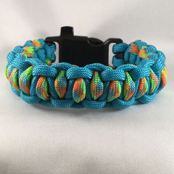 Blue Lagoon - Paracord Heaven Eli' Weave with Emergency Whistle