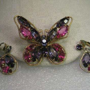 Vintage Brooch & Earring Set, Marquis Rhinestone Butterfly & Clip Earrings, Purples & Pinks
