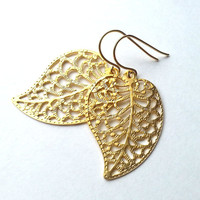 Gold Filigree Leaf Earrings, gift, mother, mom, sister, friend, anniversary gift, wedding jewelry, birthday gift, everyday fashion