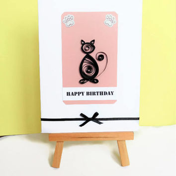 Cat birthday card, cat card, birthday card, quilled card, cat lover card, cat greeting card, happy birthday card, birthday cat card
