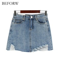BEFORW Summer Jeans Skirt Women High Waist Jupe Irregular Edges Denim Skirts Women Mini Saia Washed Faldas Casual Pencil Skirt