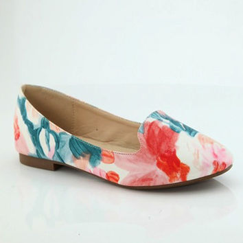 The Amanda Watercolor Floral Flats
