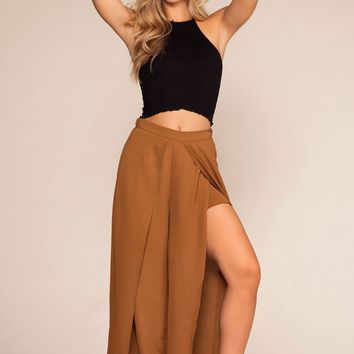 Mohave High Waisted Front Slit Pants - Bronze