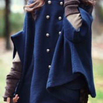 Stand Collar Double-Breasted Cape Coat