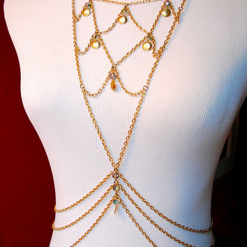 Golden Scales - Festival / Belly Dance / Burlesque  Body Chain with Crystal Bead & Gold Disk Accents