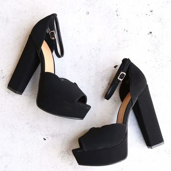 Black Suede Ankle Strap High Heel Sandals