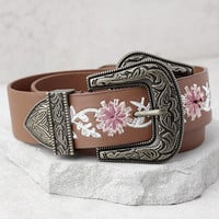 Wildflower Tale Brown Embroidered Double Buckle Belt