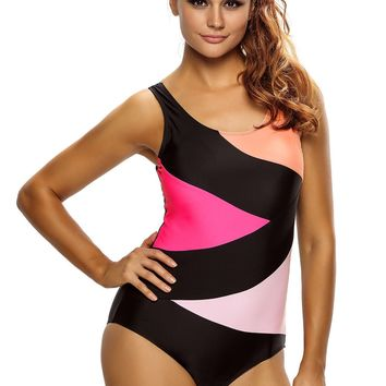 Sexy Color Block Front Lace up Black One Piece Swimsuit