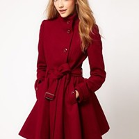 ASOS Fit and Flare Belted Coat at asos.com