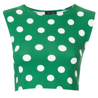 Spot Stretch Crop Top - Topshop