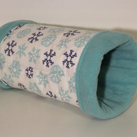 Reinforced Hedgehog Tunnel, Guinea Pig Cuddle Tube, Ferret Cage Accessory - Blue Winter Snowflake