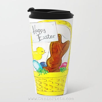Vintage Easter Chocolate Bunny Travel Mug Cup Hot Tea Coffee Gift Idea Chick For Her Him Office Rabbit Egg Card Basket Chick Colored Grass