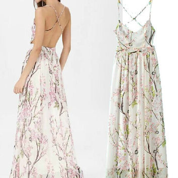 Summer Spaghetti Strap Print Slim Sexy Backless Prom Dress Maxi Dress One Piece Dress [4918965124]