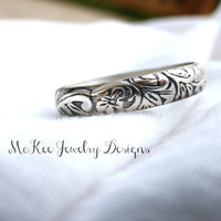 Sterling silver engraved ring. Handmade metal smithed ring.