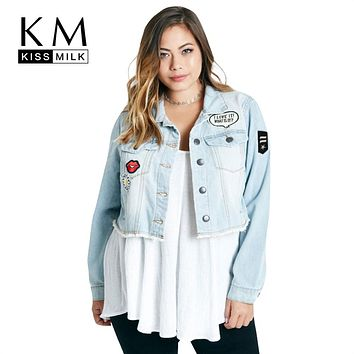 Kissmilk Women Plus Size Short Denim Jacket Coats with Patches Button Down Basic Jean Big Size  Outfits  6XL