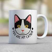 Funny Cat Mugs - Catnip - Love - Coffee Mugs - Cute Cat - Birthday Gift - Gift for Her - Girlfriend Gift - Wife Gift - Black and White Cat