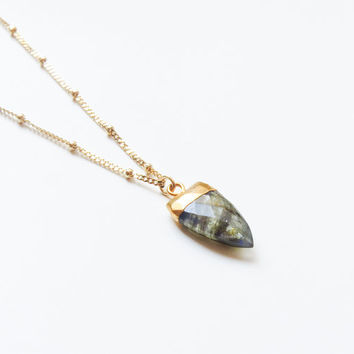 Labradorite Necklace | Gold Labradorite Necklace | Labradorite Necklace | Boho Necklace | Layering Necklace |