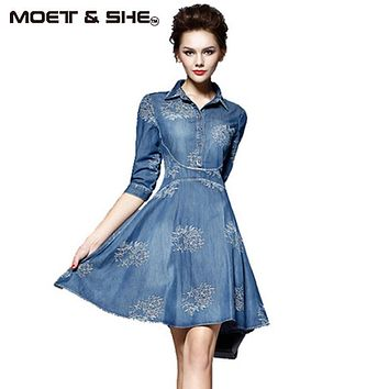 Summer Style Women Denim Dress Women Clothes Vintage Half Sleeve Long Embroidery Slim Dresses Plus Size Vestidos de festa D52547