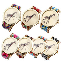 New Giraffe Pattern Weaved Rope Band Bracelet Quartz Dial Watch = 1956718148