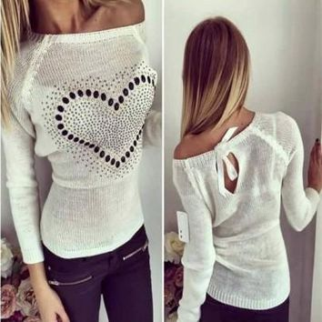 New Women White Love Print Cut Out Bow Tie Back Fashion Pullover Sweater