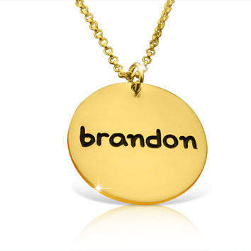 Gold Disc Necklace Engraved Disc Necklace Gold 14k Name Tag Necklace Gold Disc Pendant Necklace Birthday Gift Special Name Necklace Engraved