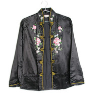 50s 60s Silk Oriental Duster - Vintage Asian Jacket - Silk Embroidered Floral Jacket - Silk Bomber - Black Satin Jacket - Chinese Jacket