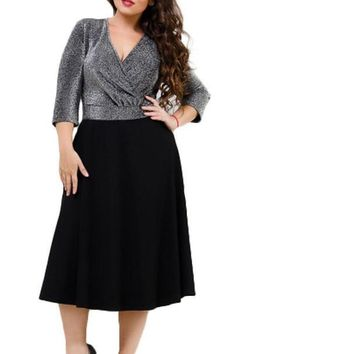 doris silver Plus Size Dress Sexy Deep V-Neck Fashion Ladies black blue metallic formal party midi