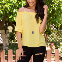 Elvia Off The Shoulder Top - Yellow