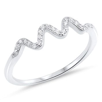 Sterling Silver Wave Squiggle Cubic Zirconia Ring