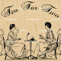 Tea Party for Two Digital Vintage Image DIY Invitations Cards Scrapbook Pages