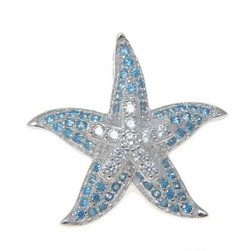 925 Silver Genuine Blue Topaz and CZ Hawaiian Starfish Sea Star Pendant